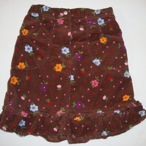 Hanna Andersson Brown Floral Velour Skirt 140